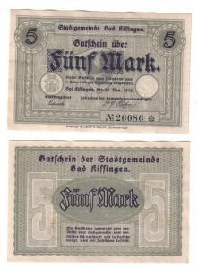 5 Mark Banknote Notgeld Stadtgemeinde Bad Kissingen 20.11.1918 (112714)