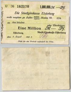 1 Million Mark Banknote Stadtgirokasse Elsterberg 9.8.1923 (121888)