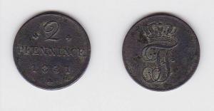 2 Pfennige Kupfer Münze Mecklenburg Schwerin 1831 (117192)
