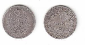 1 Mark Silber Münze Deutschland Kaiserreich 1878 J Jäger Nr.9 (115948)