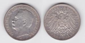 3 Mark Silber Münze Baden Großherzog Friedrich II 1911 G (118857)