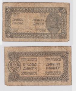 10 Dinar Banknote Jugoslawien 1944 (121377)