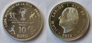 10 Euro Silber Münze Spanien 2013 Fussball WM Brasilien 2014 Fussballer (116624)