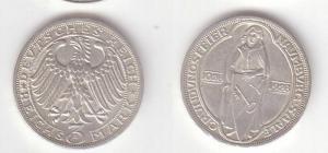Silber Münze 3 Mark 900 Jahre Stadtrecht Naumburg 1928 (BN9087)