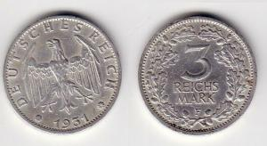 3 Mark Silber Münze Weimarer Republik 1931 F (103172)