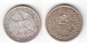 2 Mark Silber Münze Deutsches Reich 1926 J  (115216)