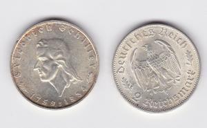 2 Mark Silber Münze Friedrich von Schiller 1934 F (109822)