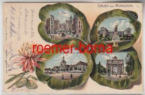 80232 Kleeblatt Präge Ak Gruß aus München Siegesthor, Bavaria Karlsthor usw.1906