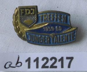 DDR FDJ Abzeichen Treffen Junger Talente 1959 - 1960 (112217)