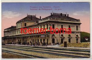 78334 Ak Souvenir de Philippopoli Plowdiw Bulgarien Bahnhof um 1915