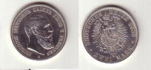 2 Mark Silber Münze Preussen Kaiser Friedrich 1888 (112407)