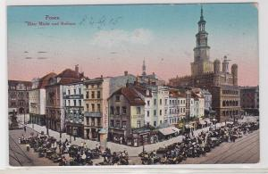 44138 AK Posen - Alter Markt und Rathaus, Frischemarkt, Geschäfte 1915