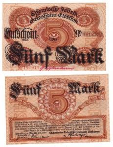 5 Mark Banknote Frankfurt a.M. Chemische Fabrik Griesheim Elektron 1918 (113241)
