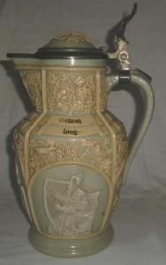 Alter Keramik Krug Wein-Weib-Gesang mit Deckel Villeroy & Boch Mettlach um 1920