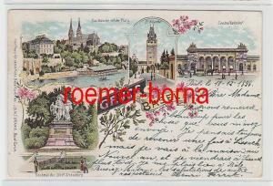 74272 Ak Lithografie Gruss aus Basel Centralbahnhof usw. 1898