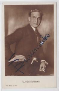 82038 Autograph Karte Deutscher Schauspieler Karl Beckersachs um 1935