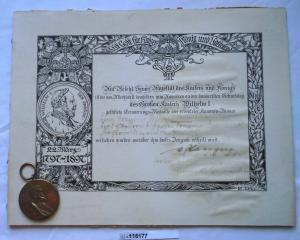 Preussen Centenar Medaille mit Urkunde Dragoner Regiment 1897 (116177)
