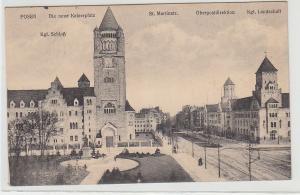 71534 Feldpost Ak Posen mit St. Marienstr., Die neue Kaiserpfalz, usw., 1914