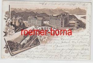 78718 Ak Lithographie Gruss vom Rigi Schnurtobelbrücke 1897