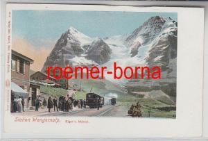 79196 Ak Station Wengernalp Eiger und Mönch um 1900