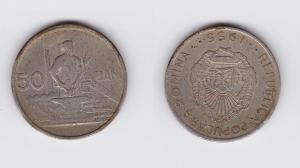 50 Bani Nickel Münze Rumänien 1953 Arbeiter mit Amboss (120190)