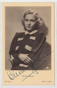 83894 Autograph Karte Deutsche Schauspielerin Dinah Grace um 1939