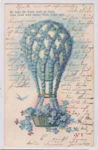92338 Reim Ak Fesselballon aus Vergißmeinnicht 1908