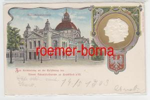 78380 Präge Ak Lithographie Frankfurt am Main Neues Schauspielhaus um 1900