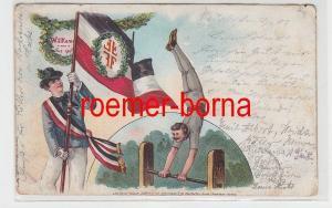 64856 Ak Lithografie Willkommen - Gut Heil! Fahnenträger und Turner 1903
