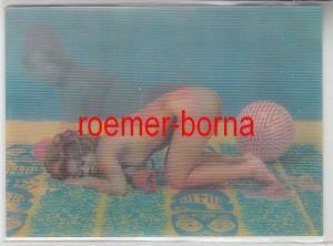 78464 Erotik 3D Ak Nackte Frau am Strand um 1970