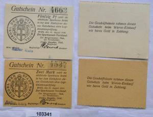 50 Pfennig & 2 Mark Banknoten Notgeld Sparkasse Brühl 14.8.1914 (103341)