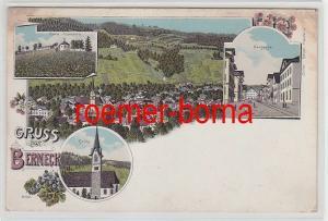 62966 Ak Lithografie Gruss aus Berneck Ruine Rosenburg, Neugasse, Kirche um 1900