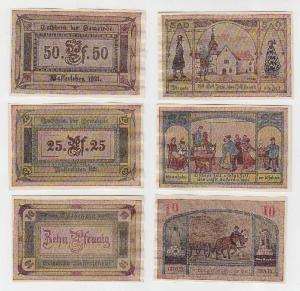 3 Banknoten Notgeld Gemeinde Wasserleben 1921 (114651)