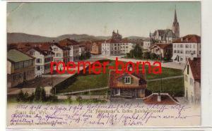 74491 Ak Gruss aus Wyl St. Peterskirche u. Untere Bahnhofstrasse 1904