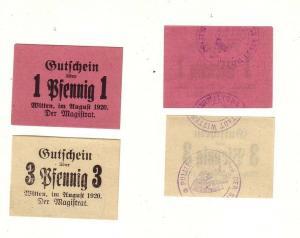 2 Banknoten Notgeld Stadt Witten 1920 (112673)