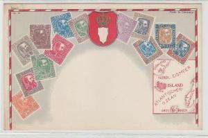 44096 Wappen Ak Island mit Briefmarken um 1900