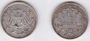 1/2 Mark Silber Münze Kaiserreich 1909 D, Jäger 16  (122166)