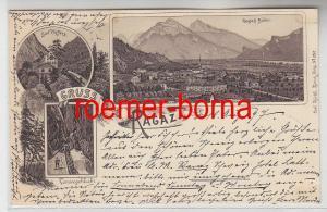 78838 Ak Lithographie Gruss aus Ragaz Taminaschlucht, Bad Pfäffers usw. 1897