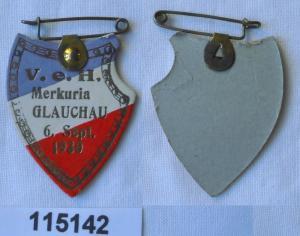 Alte Papp Abzeichen Studentika Verbindung V.e.H. Merkuria Glauchau 1930 (115142)