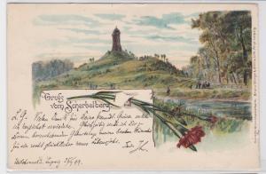 87949 Lithografie AK Gruss vom Scherbelberg mit Rosentalturm 1899