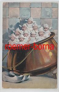 79664 Humor Ak 10 Babys in Kupferkessel 1898