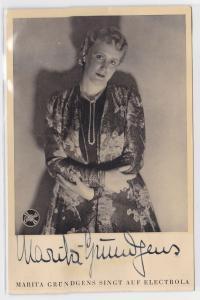 79626 Autograph Karte Deutsche Sängerin Marita Gründgens um 1935