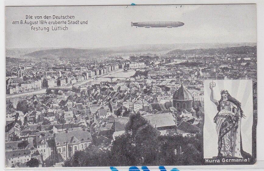 85275 AK Die von den Deutschen eroberte Stadt und Festung Lüttich Zeppelin 1914 0