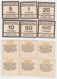 6 Gutschein Banknoten Konsum- und Sparverein Düren um 1920 (123674)