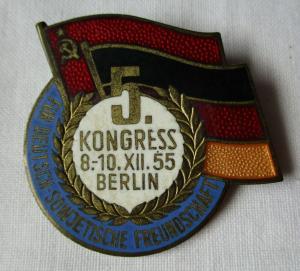 Frühes DDR Abzeichen 5. Kongress Berlin Dezember 1955 GDSF Freundschaft (133951)