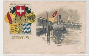 91271 Präge Passepartout AK Romanshorn mit Dampfer 1902