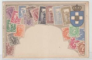 30239 Wappen Ak Griechenland mit Briefmarken um 1900
