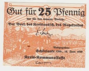 25 Pfennig Banknoten Notgeld Kreiskommunalkasse Schönlanke 1920 (112838)
