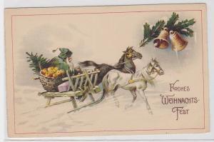 67795 Glückwunsch AK Frohes Weihnachts-Fest, Weihnachtsmann in Fuhrwerk um 1910