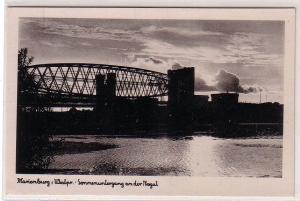 49522 Ak Marienburg Westpreussen Sonnenuntergang an der Nogat um 1940